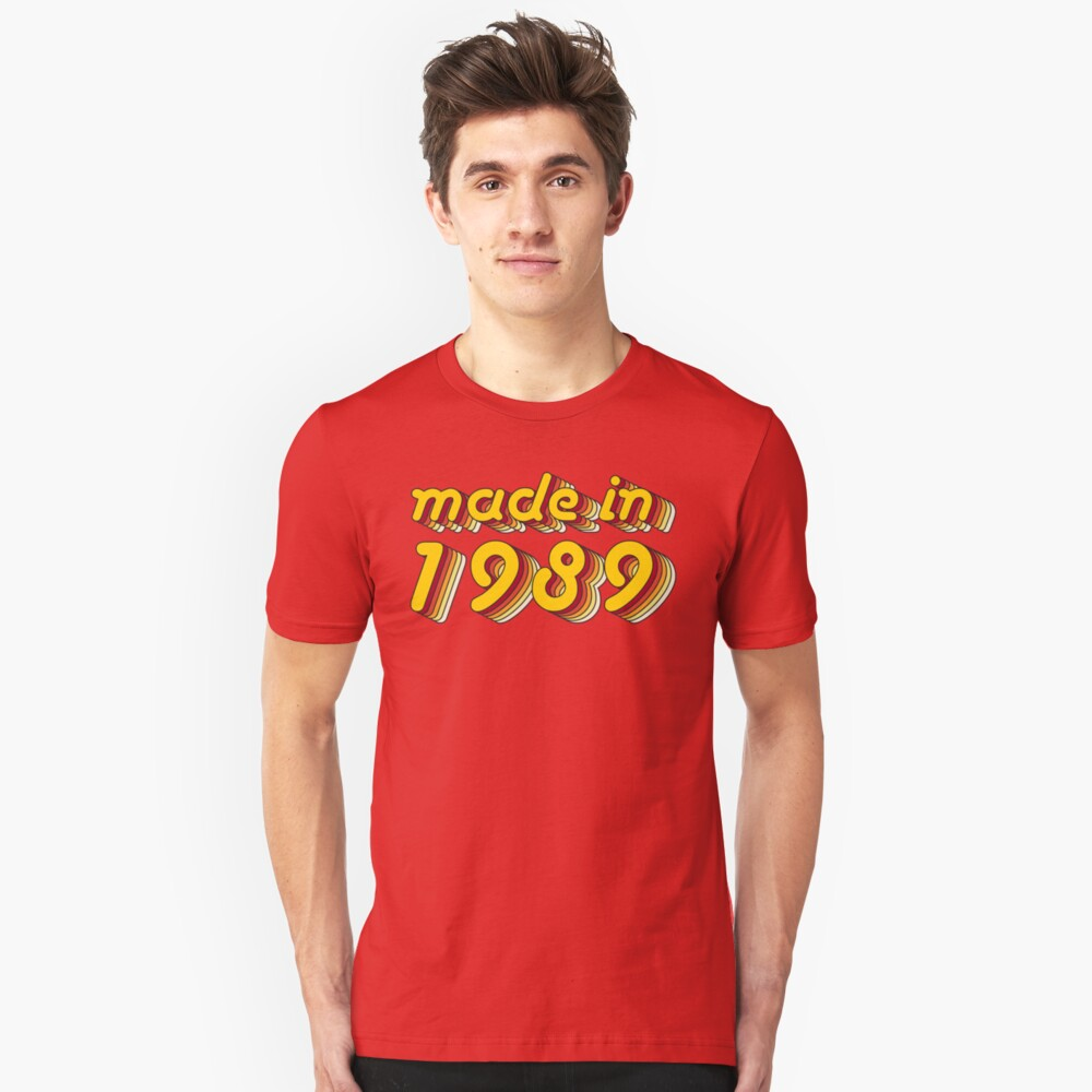 Made in 1989 (Yellow&Red) Unisex T-Shirt Front