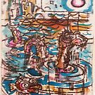 Sea Monster - Hand Painted Monoprint by Matt Bissett-Johnson