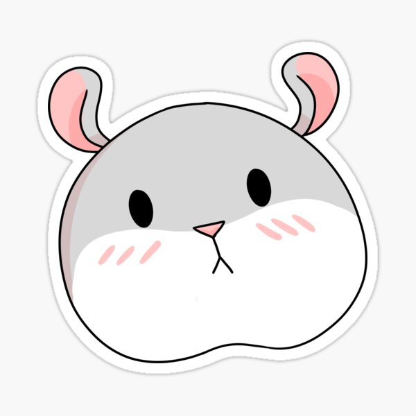 Tam the Tiny Hamster, blushing face. Sticker