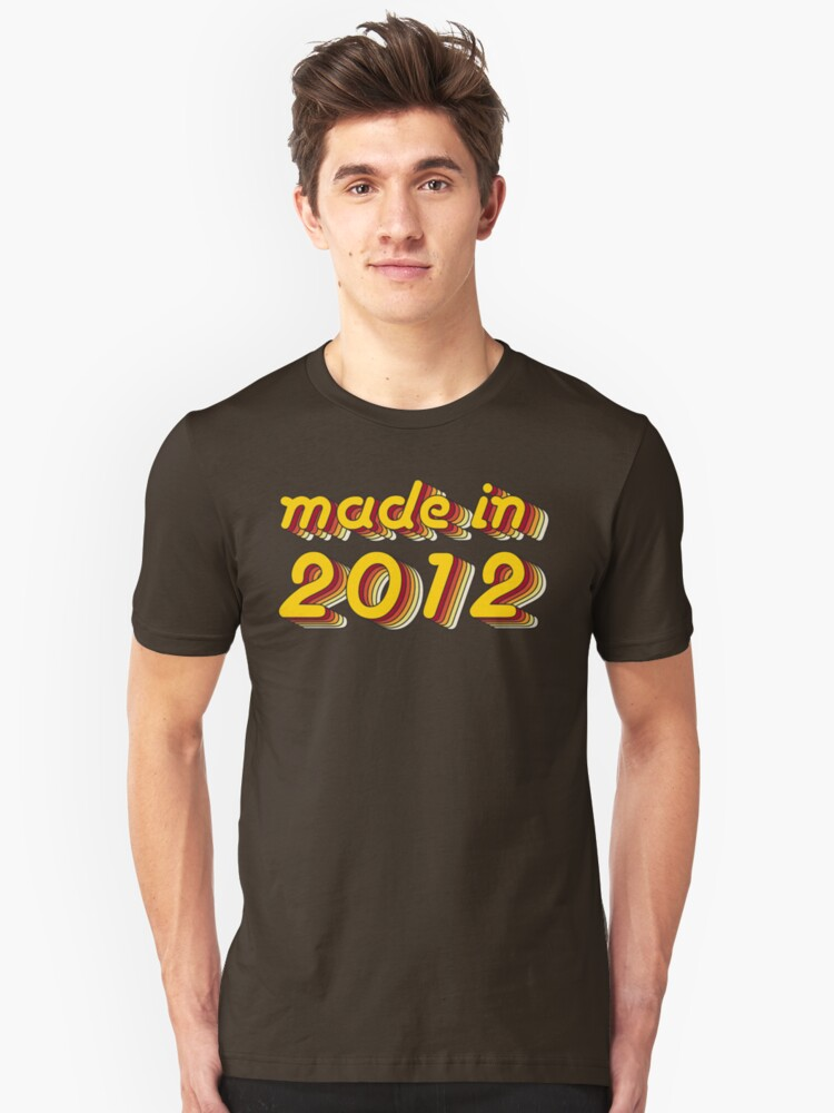 Made in 2012 (Yellow&Red) Unisex T-Shirt Front