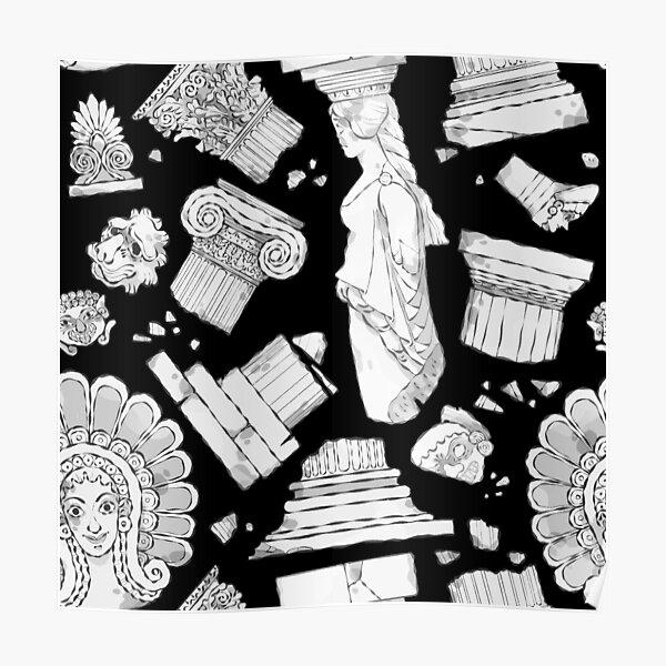 Greek Architectural Elements - black and white DARK Poster