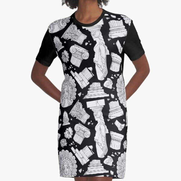 Greek Architectural Elements - black and white DARK Graphic T-Shirt Dress