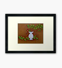 White Vase Red Flower Framed Print