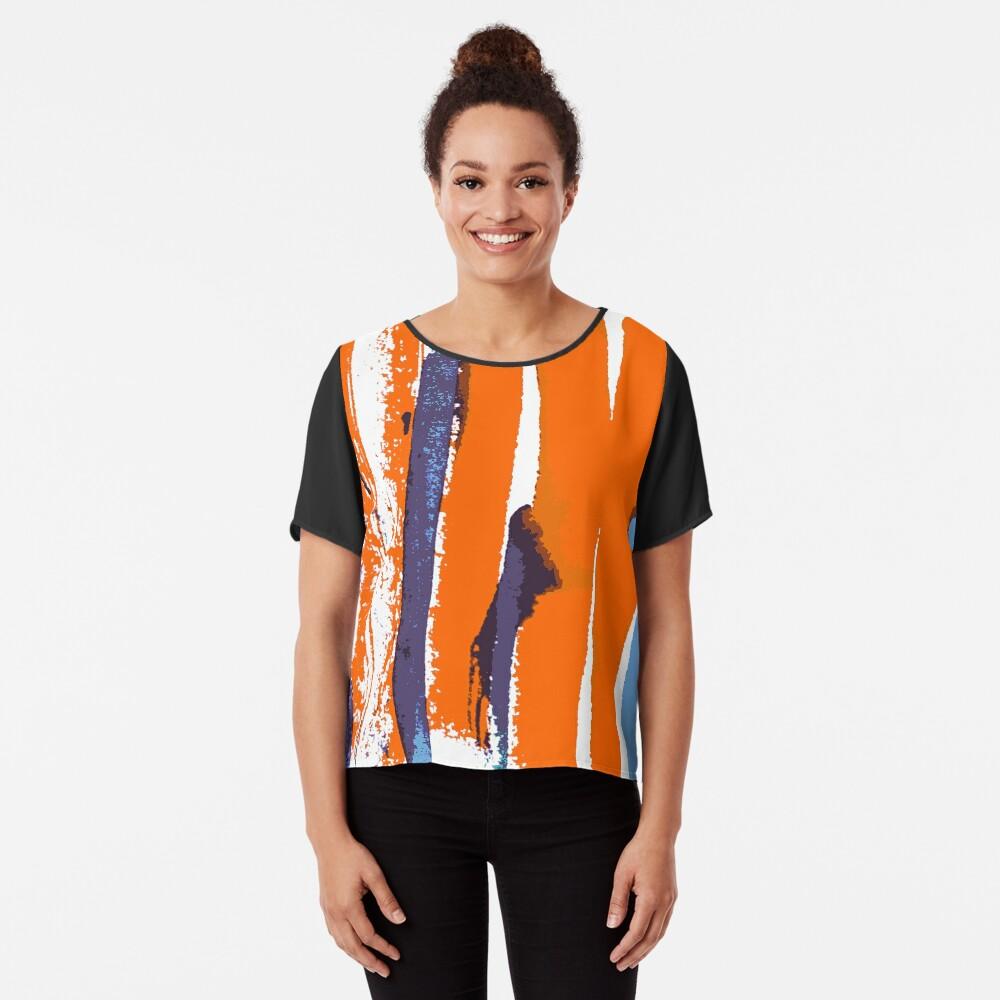 Retro art breite linien orange lilac  Chiffontop für Frauen Vorne