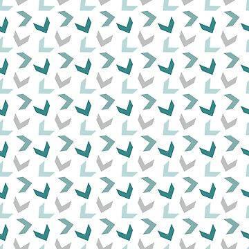 Random Arrows in Teals and Gray on White by MelFischer