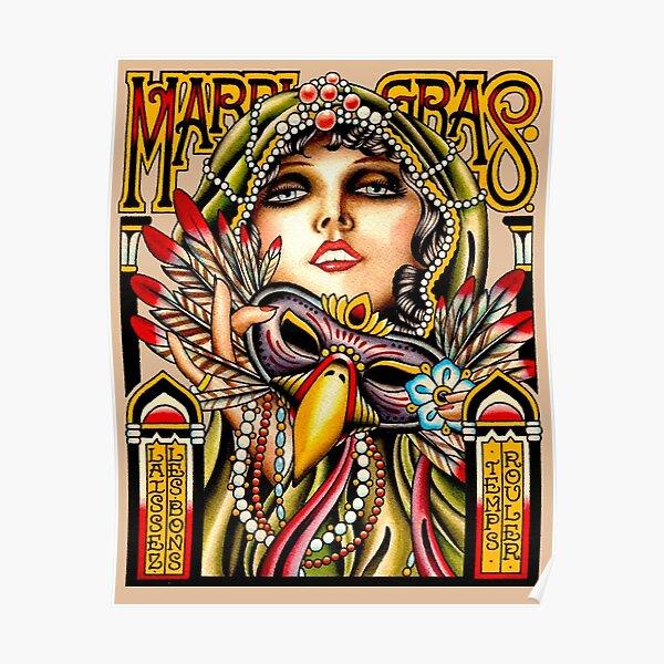 MARDI GRAS; Vintage New Orleans Art Deco Print Poster