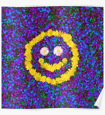 Happy Smiley Face Bright Dandelion Flowers  Poster