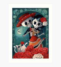 Dia de Los Muertos Couple of Skeleton Lovers Art Print