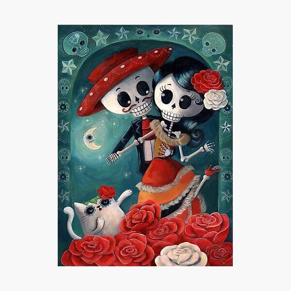 Dia de Los Muertos Couple of Skeleton Lovers Photographic Print