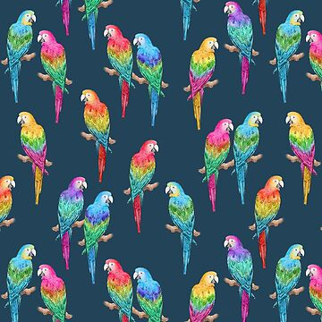 Rainbow Macaws on Navy pattern by HazelFisher