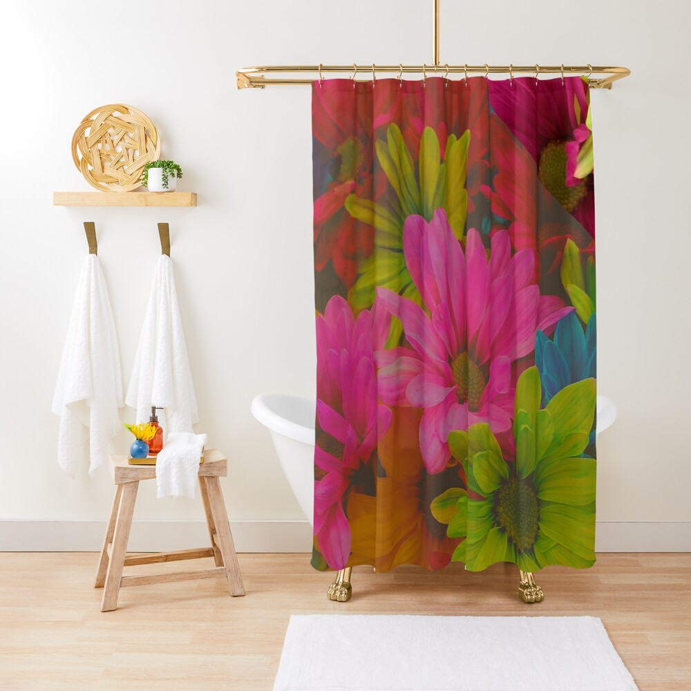 Flowers Hipster Tropical Hipster Print Shower Curtain