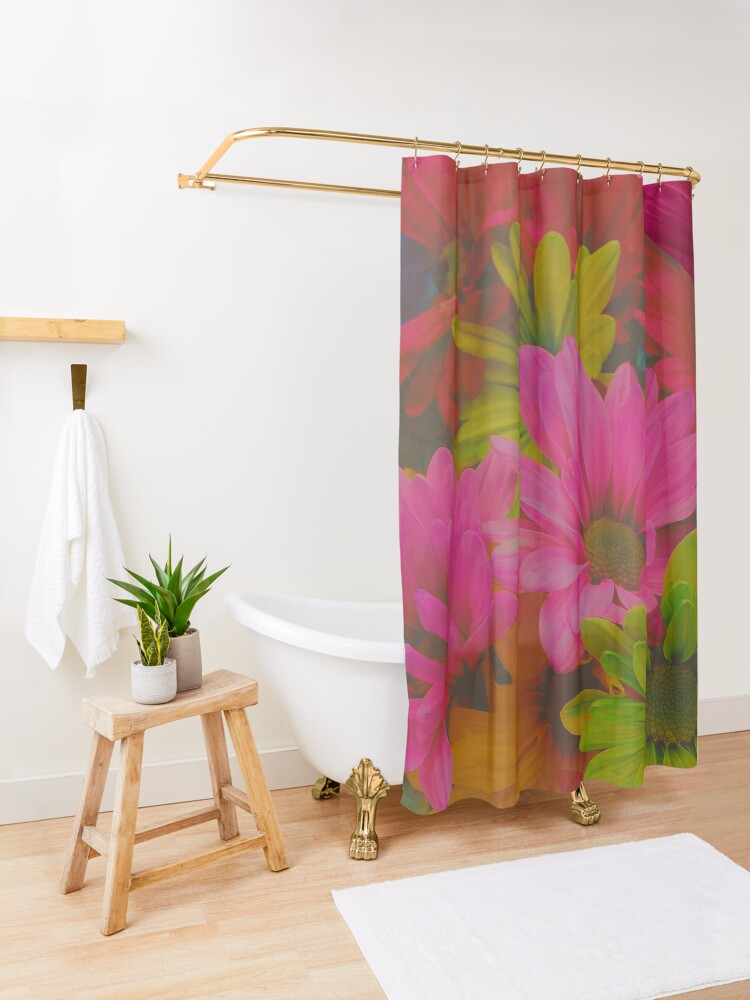Alternate view of Flowers Hipster Tropical Hipster Print Shower Curtain