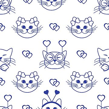 Pattern. Valentine's Day. Cats, hearts. Carnival by aquamarine-p