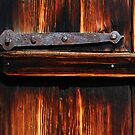 Old iron hinge on a Swiss Alpine chalet by Michael Brewer