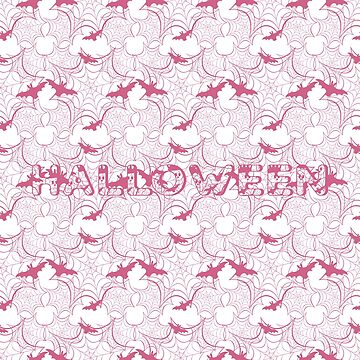 Halloween vector seamless pattern with web and bat by aquamarine-p