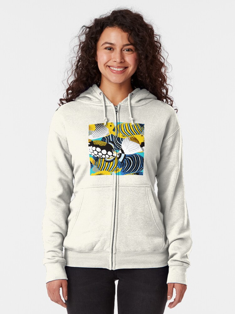 Alternate view of Tropical Fish animal print Zipped Hoodie