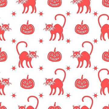 Halloween 2019 seamless pattern. Pumpkins, cats. by aquamarine-p