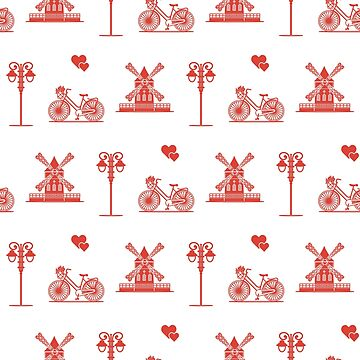 Seamless pattern with windmill, bicycle, lantern. by aquamarine-p