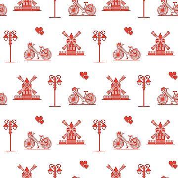 Seamless pattern with windmill, bicycle, lantern. by aquamarine-p