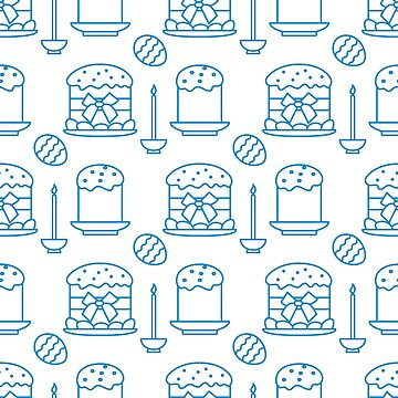 Seamless pattern with Easter cakes, candle, eggs. by aquamarine-p