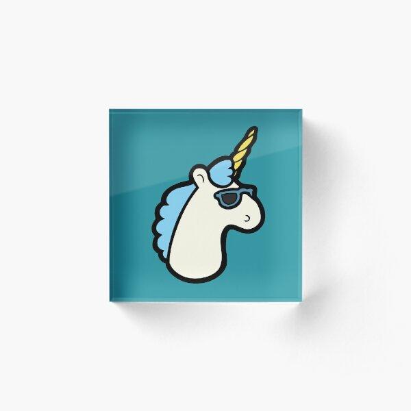 Unicorns Are Cool Pattern - Blue Acrylic Block