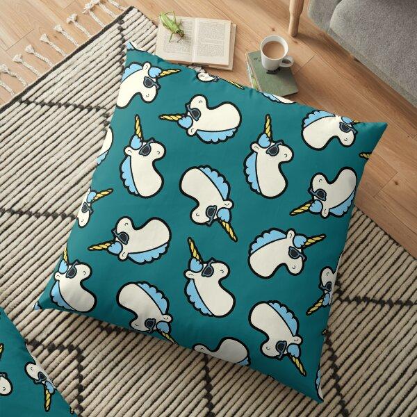 Unicorns Are Cool Pattern - Blue Floor Pillow