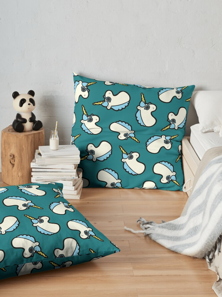 Alternate view of Unicorns Are Cool Pattern - Blue Floor Pillow
