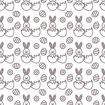 Seamless pattern with Easter Bunny, eggs. by aquamarine-p