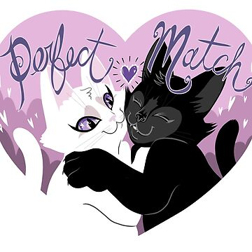 Perfect Match - Black and White Cats are perfect for each other by blacklilypie