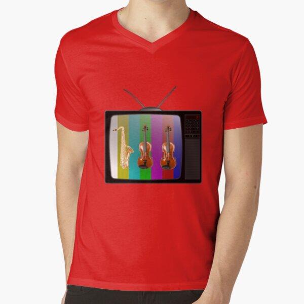 Sax and Violins on TV V-Neck T-Shirt