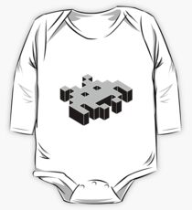 space invader 3d black and white One Piece - Long Sleeve
