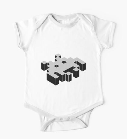 space invader 3d black and white Kids Clothes