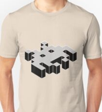 space invader 3d black and white Unisex T-Shirt