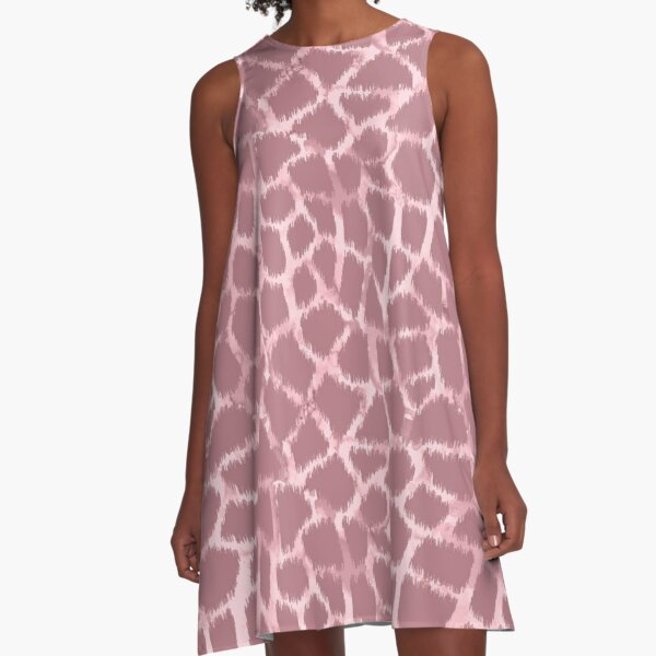 Giraffe skin ikat with watercolor texture pattern A-Line Dress