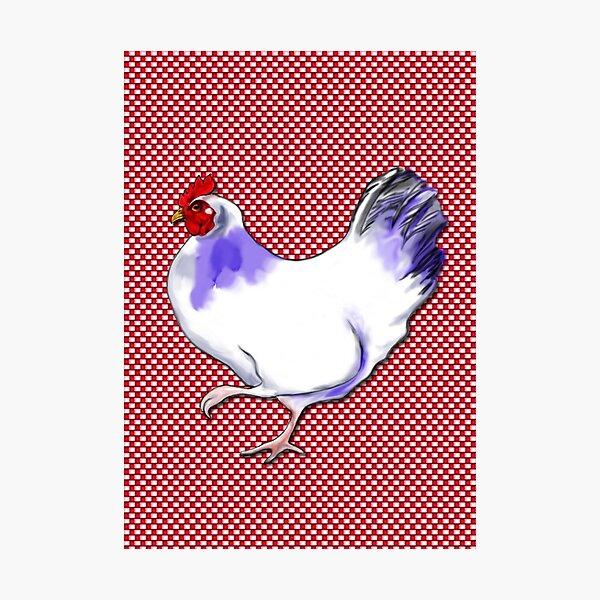 Farmhouse chicken on check Photographic Print