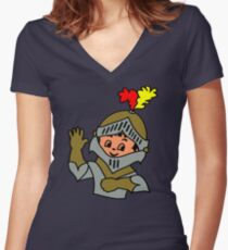 Retro cute Kid Billy as a Knight t-shirt Women's Fitted V-Neck T-Shirt