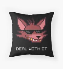 Five Nights at Freddy's - FNAF - Foxy - Deal With It (White Font) Throw Pillow