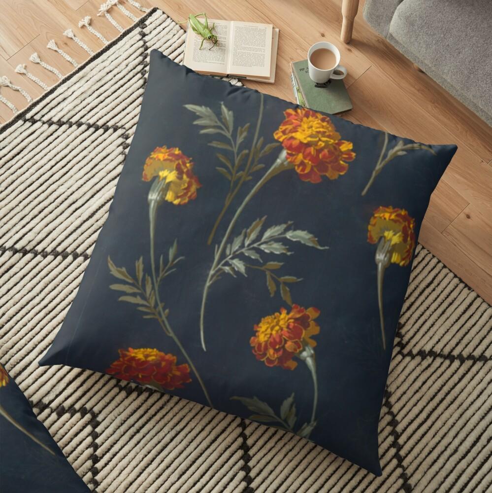 Vintage Marigolds Floor Pillow