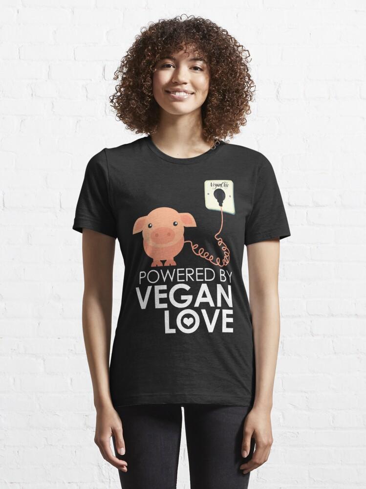 Alternate view of VeganChic ~ Powered By Vegan Love Essential T-Shirt