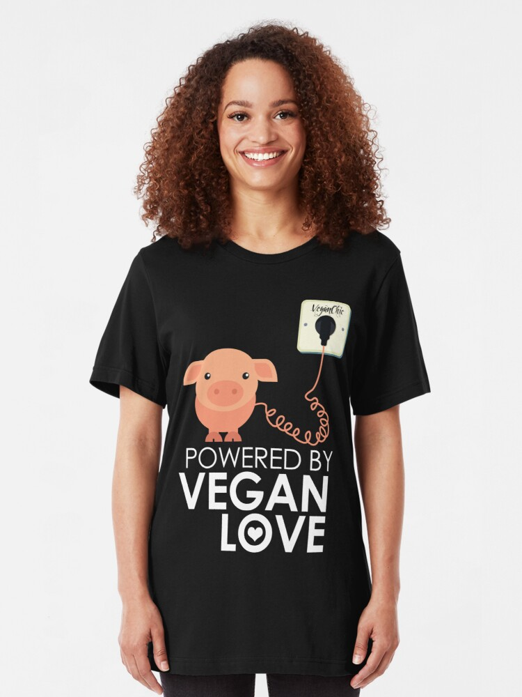 Alternate view of VeganChic ~ Powered By Vegan Love Slim Fit T-Shirt