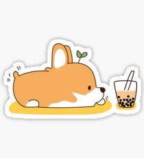 Corgi and Bubble Tea  Sticker