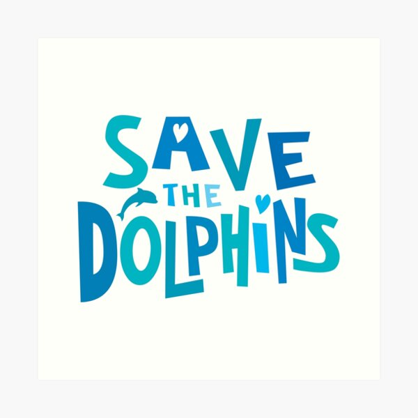 Save the Dolphins - in blues Art Print