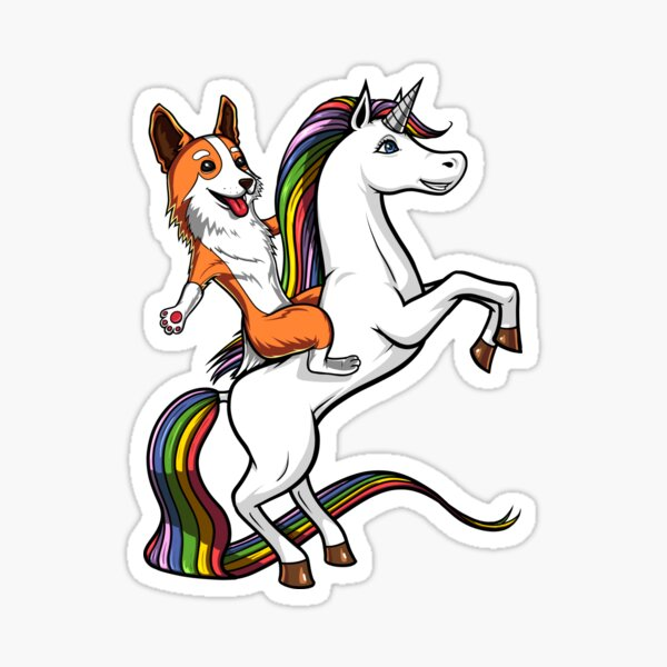 Corgi Dog Riding Unicorn Sticker