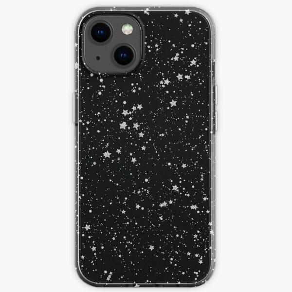 Glitter Stars2 - Silver Black iPhone Soft Case