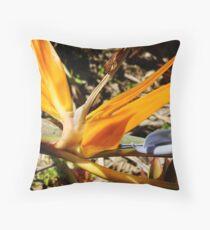 Bright Orange Bird of Paradise-(Macro) Throw Pillow
