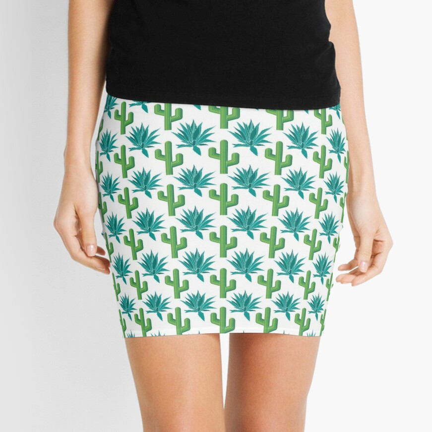 Cactus & Agave Pattern - White Mini Skirt