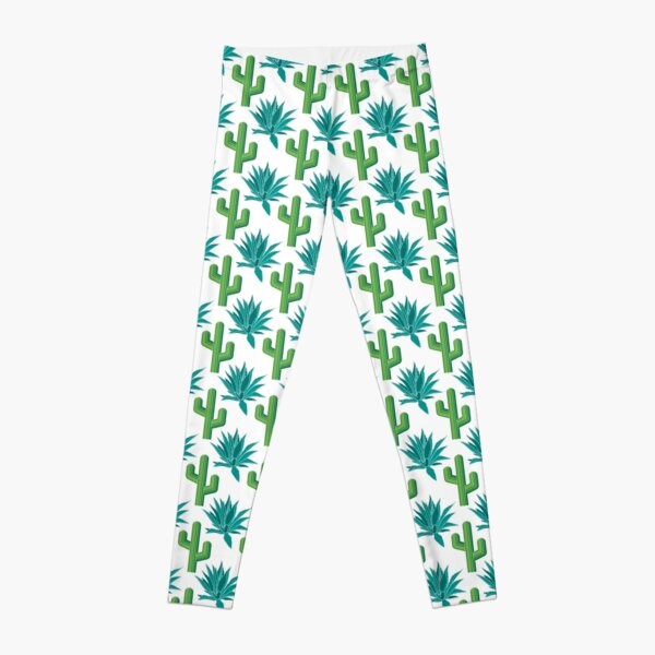 Cactus & Agave Pattern - White Leggings