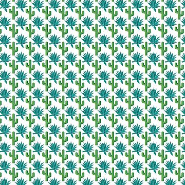 Cactus & Agave Pattern - White by codyjoseph