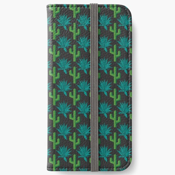 Cactus & Agave Pattern - Dark iPhone Wallet