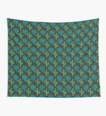 Cactus & Agave Pattern - Dark Wall Tapestry
